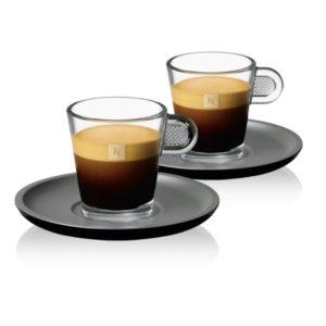 Espresso Glass Cup & Black Saucer x 2